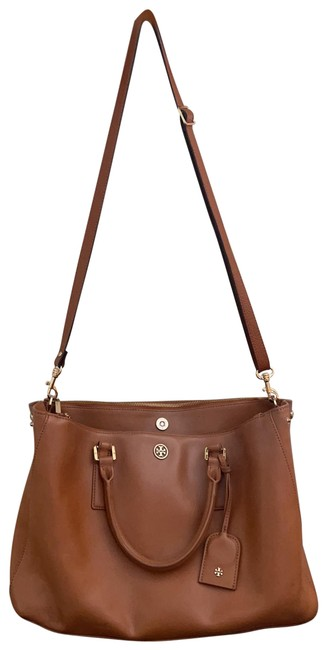 Item - Robinson Large Double Zip Compartment Tote Tan Camel Light Brown Leather Satchel