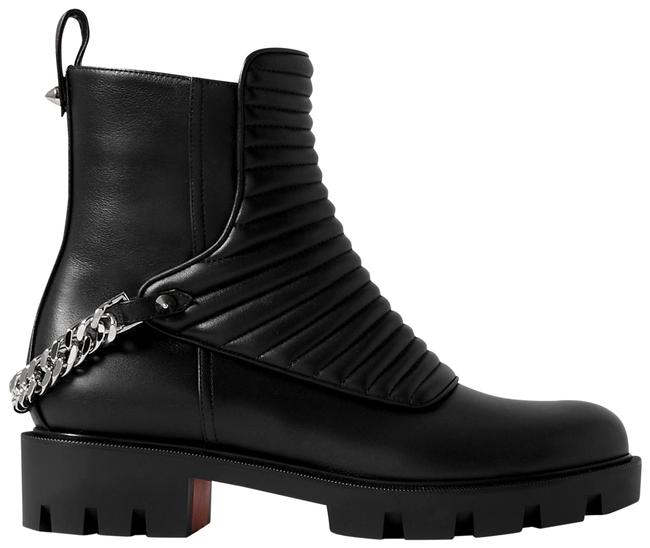 Item - Black Maddic Max Chain-embellished Quilted Leather Ankle Boots/Booties Size EU 38 (Approx. US 8) Regular (M, B)