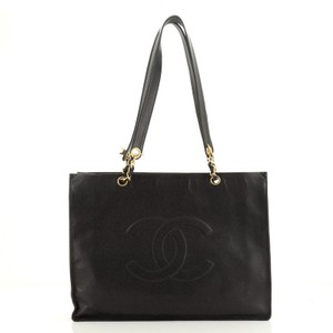 Item - XL Vintage Cc Chain Caviar Black Leather Tote