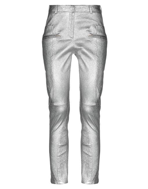 Item - Silver Leather Zipped Details Pants Size 8 (M, 29, 30)
