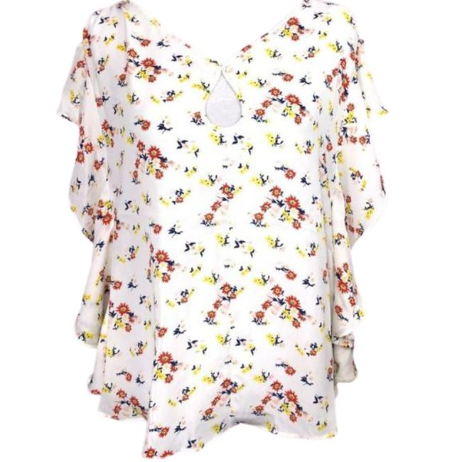 Item - White Cold Shoulder Tunic White/Floral Nwt-s Blouse Size 6 (S)