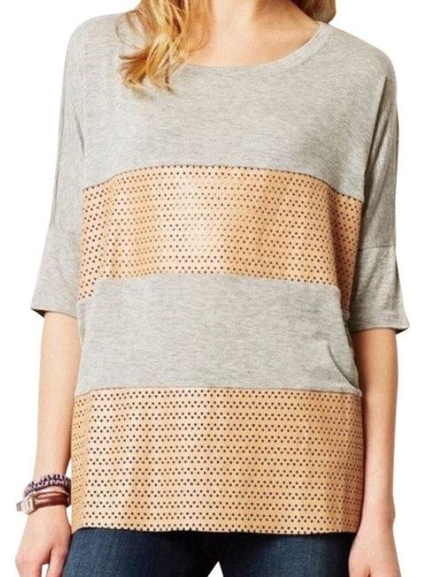 Item - Gray Perforated Contrast Stripe T-shirt Tee Shirt Size 8 (M)