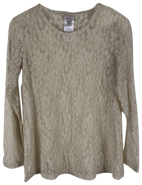 Item - Cream Long-sleeve Sheer Lace Blouse Size 4 (S)