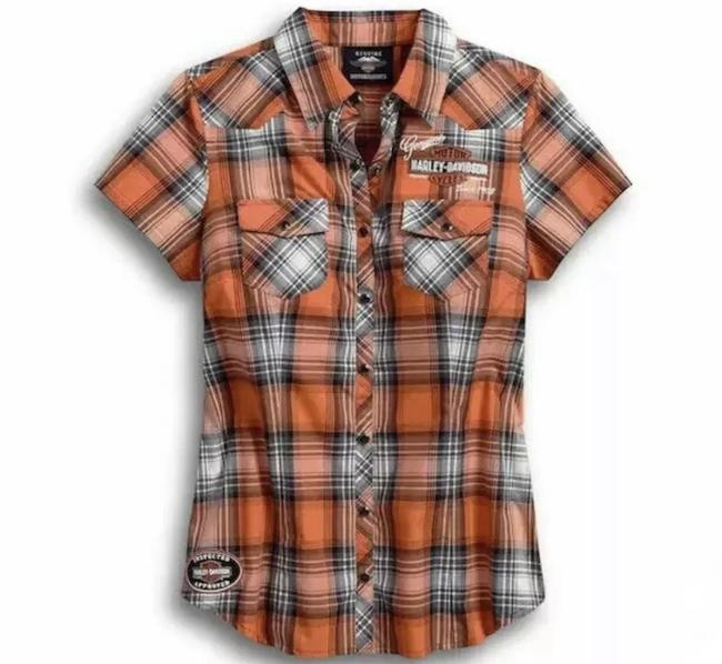 Item - Orange Black White Short Sleeve Oil Can Plaid Button-down Top Size Petite 4 (S)