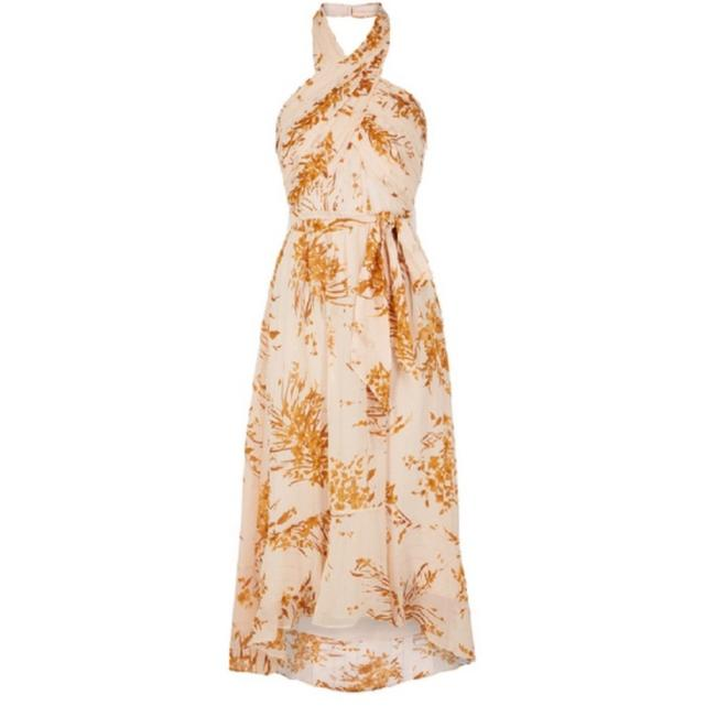 Joie Ivory/Rust/Gold Metallic Arney Halter Floral Long Casual Maxi Dress Size 00 (XXS) Joie Ivory/Rust/Gold Metallic Arney Halter Floral Long Casual Maxi Dress Size 00 (XXS) Image 1