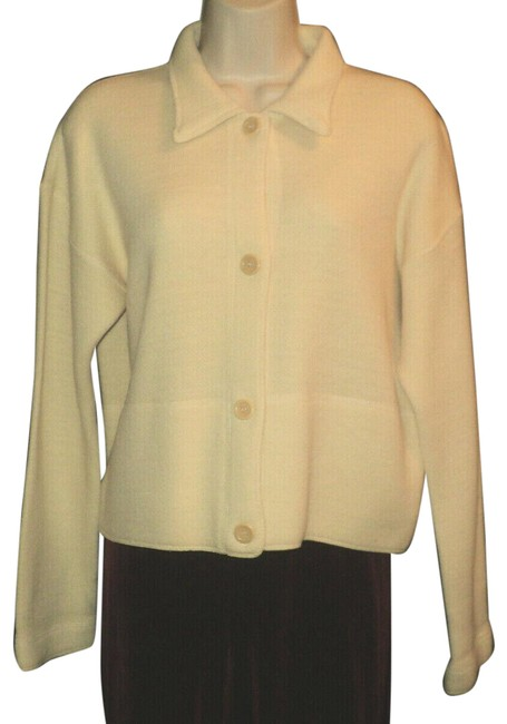 Item - Cream Cropped Dropped Shoulders Wool Blend Front Buttoned Jacket Size 6 (S)
