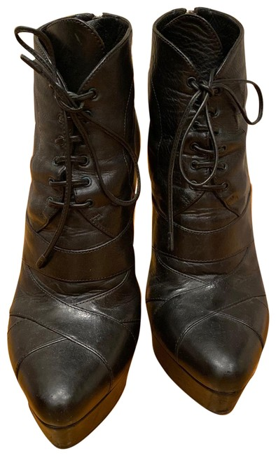 Item - Black Leather Lace Up Platform Ankle Boots/Booties Size EU 39 (Approx. US 9) Regular (M, B)