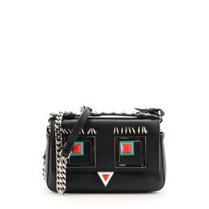 Item - Hypnoteyes Double Baguette Micro Black Yellow Leather Cross Body Bag