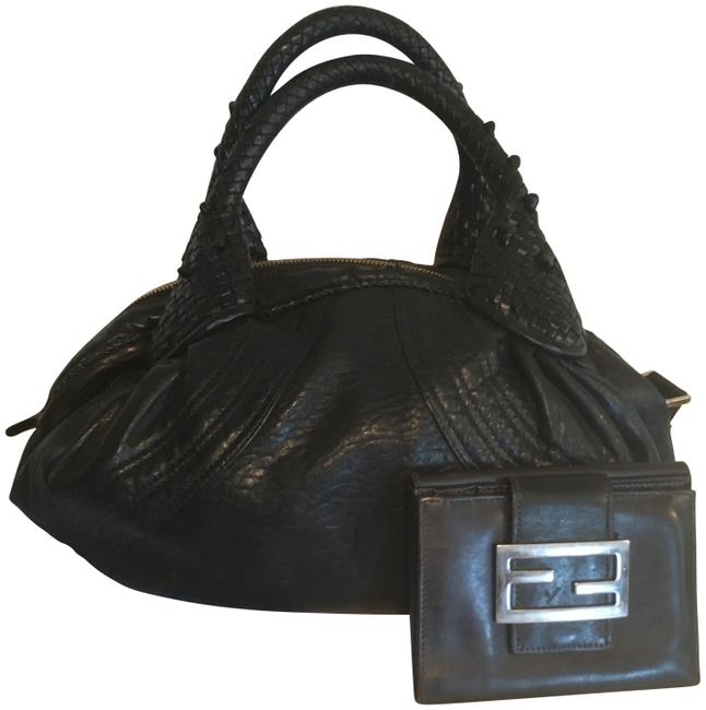 Item - Small Spy with Matching Wallet Black Lambskin Leather Baguette