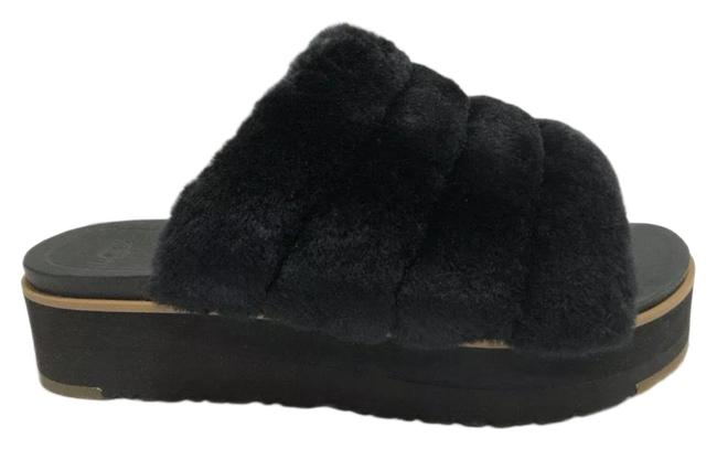 Item - Black Fluff Mules/Slides Size US 8 Regular (M, B)