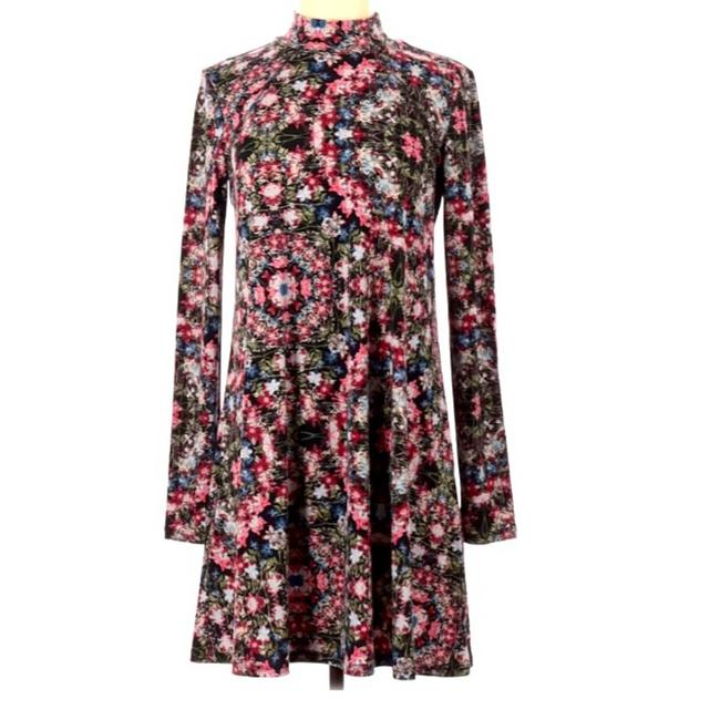 Item - Black Floral Print Small Short Casual Dress Size 4 (S)