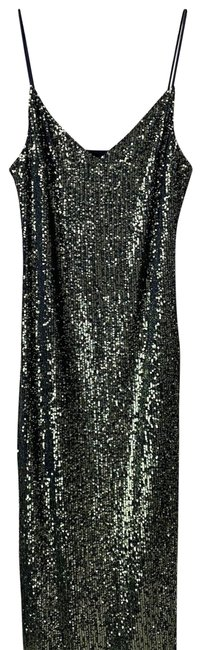 Item - Green / Black Khaki Sequin Midi Mid-length Cocktail Dress Size 4 (S)