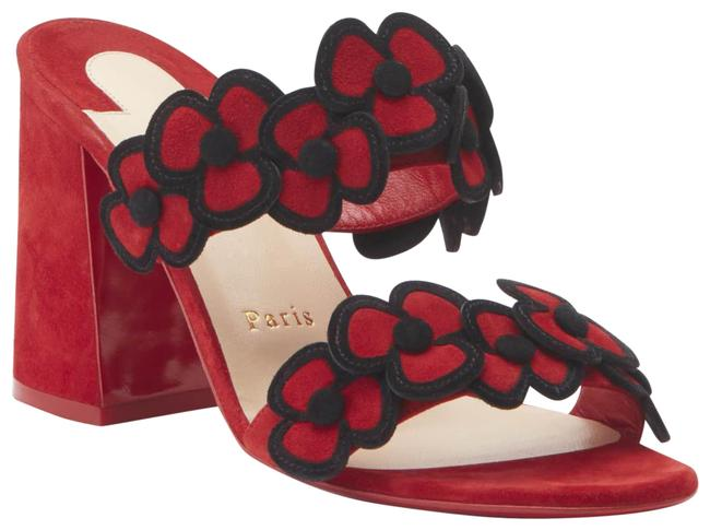 Item - Red/Black Tres Pansy 85 Flower Suede Sandals Heels Mules/Slides Size EU 35.5 (Approx. US 5.5) Regular (M, B)