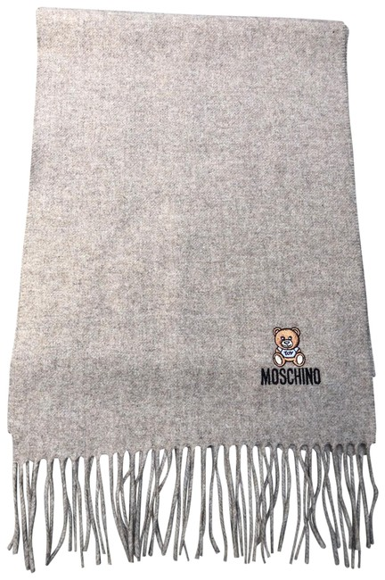 Item - Taupe New Bear Logo Fringe Long Unisex Wool Scarf/Wrap