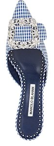 Manolo Blahnik Blue and white gingham Mules