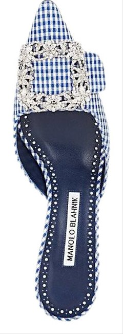 Item - Blue and White Gingham W Maysaleba Limited Edition Hangisi Crystal Buckle Mules/Slides Size EU 39 (Approx. US 9) Regular (M, B)