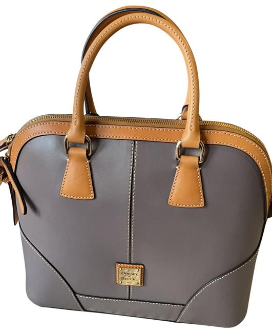 Item - Traditional Logo In Gold Handbag with Detachable Shoulder Strap Traditional Logo In Gold Dark Grey/Brown Leather Satchel