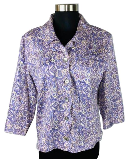 Item - Purple Abstract Floral Print Button Down Jacket Size 8 (M)