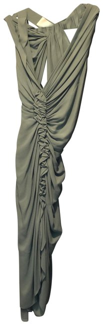 Item - Sage Green Shirred Strappy Mid-length Cocktail Dress Size 8 (M)
