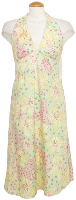 Item - Green Carmen Halter Cotton Voile Fillies For Lillies Horse Floral Short Casual Dress Size 6 (S)