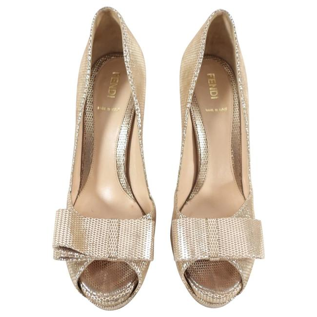 Item - Gold Light Peep Toe Bow Pumps Platforms Size US 6 Regular (M, B)