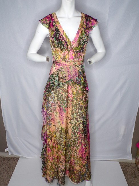 Item - Peach Multi New Silk V-neck Ruffle Printed Gown - Long Formal Dress Size 2 (XS)