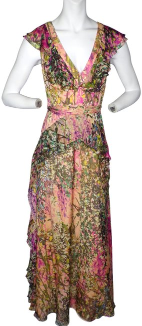 Badgley Mischka Peach Multi New Silk V-neck Ruffle Printed Gown - Long Formal Dress Size 2 (XS) Badgley Mischka Peach Multi New Silk V-neck Ruffle Printed Gown - Long Formal Dress Size 2 (XS) Image 1
