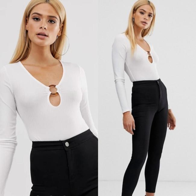 Missguided White Tall Ribbed Ring Bodysuit Blouse Size 4 (S) Missguided White Tall Ribbed Ring Bodysuit Blouse Size 4 (S) Image 3