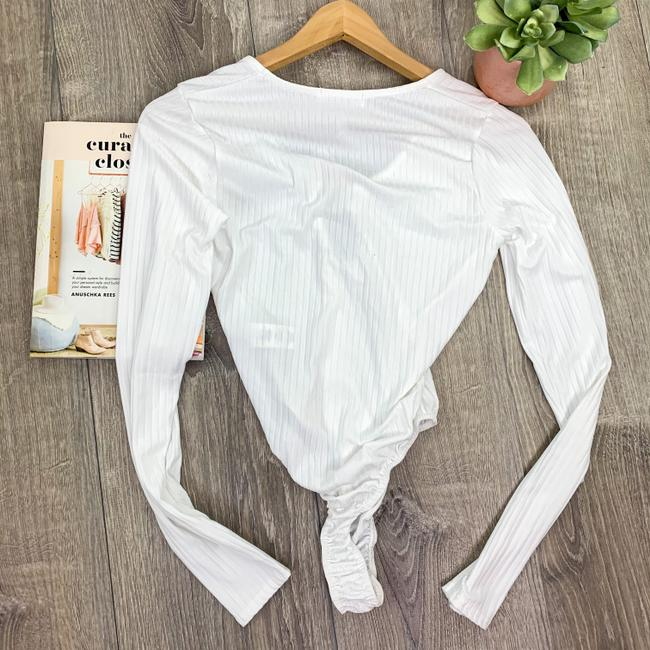 Missguided White Tall Ribbed Ring Bodysuit Blouse Size 4 (S) Missguided White Tall Ribbed Ring Bodysuit Blouse Size 4 (S) Image 8