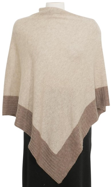 Item - Brown Wool Cashmere Knit Colorblock Poncho/Cape Size OS (one size)