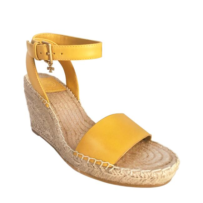Item - Yellow Dark Daylily Leather Espadrille Sandals Wedges Size US 7 Regular (M, B)