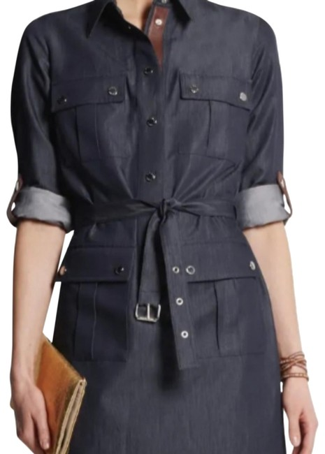 Item - Blue Techno Leather-trimmed Chambray Mid-length Short Casual Dress Size 6 (S)