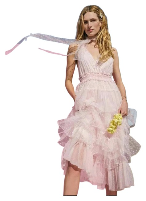 Item - Pink Isabelle Halter Tiered Long Casual Maxi Dress Size 6 (S)