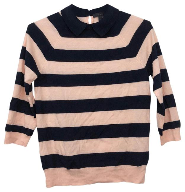 Item - W + Striped Collar Navy and Peach Sweater