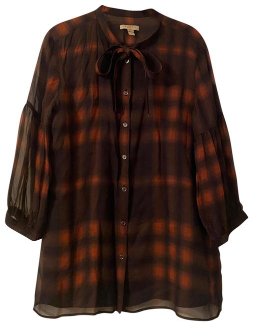 Item - Black and Burnt Red (Rust) Blouse Size 12 (L)