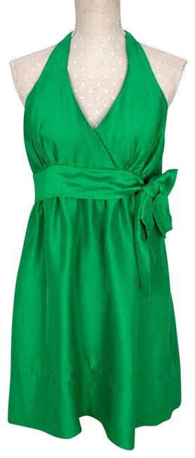 Item - Green Collection Silk Halter Fit and Flare Short Cocktail Dress Size 6 (S)