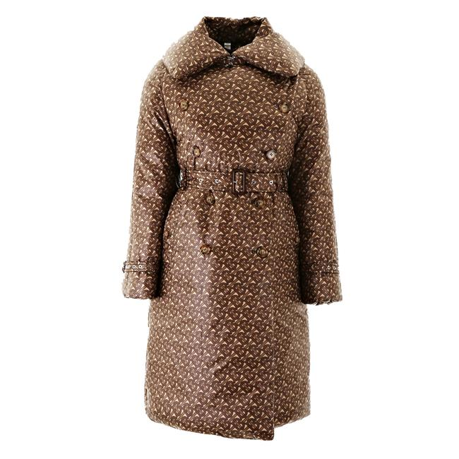Item - Bridle Brown Women's Monogram Print Puffer Trench Coat Size 0 (XS)