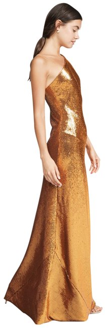 Item - Golden Copper 40 Fr Us Shining Halter Neck E Long Night Out Dress Size 12 (L)