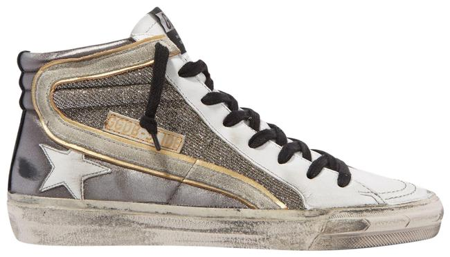 Item - Gray Slide Distressed Suede-trimmed Leather and Lurex High-top Sneakers Size EU 40 (Approx. US 10) Regular (M, B)