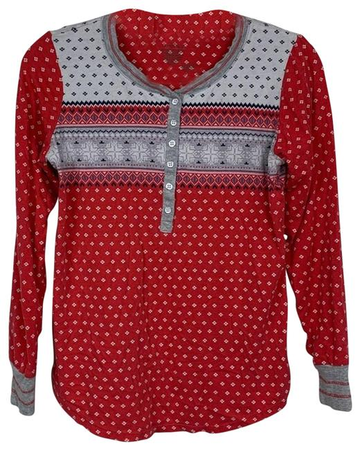 Item - Red Winter Print Thermal Henley Small Tee Shirt Size 4 (S)