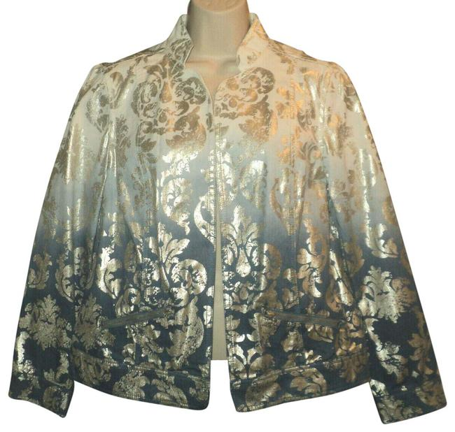 Item - Blue & Silver Foil Dip-dyed Open Front Stand-up Collar No Lining Jacket Size 8 (M)