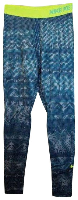 Item - Teal Pro Dri-fit Pattern Neon Waistband Full Length Activewear Bottoms Size 4 (S, 27)
