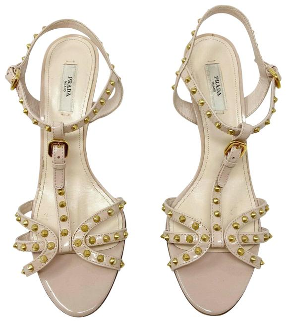 Item - Nude Studded T-strap Patent Leather Heels (8) Sandals Size EU 38 (Approx. US 8) Regular (M, B)