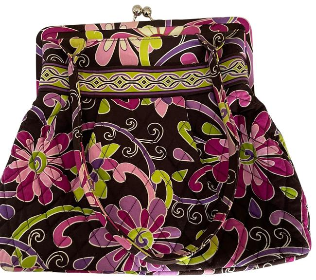Item - Vibrant Brown and Purple Quilted Fabric Satchel