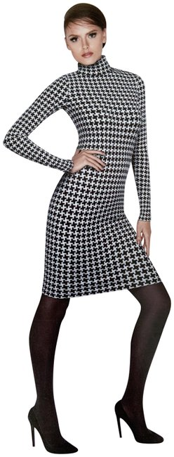 Item - Black White Dandy Mid-length Night Out Dress Size 6 (S)