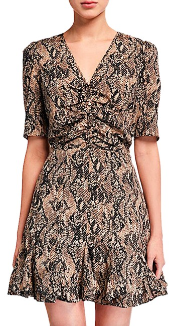 Item - Nude with Tag Ried Snake-print Short-sleeve Flounce Night Out Dress Size 6 (S)