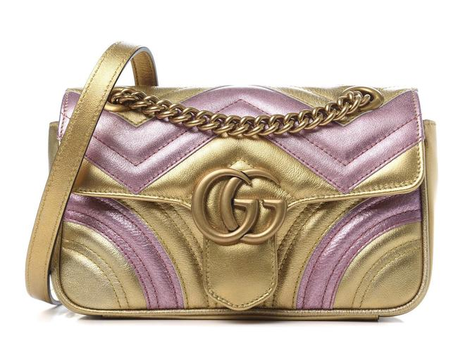 Item - Marmont Gg Mini Quilted Metallic Gold/ Pink Leather Cross Body Bag