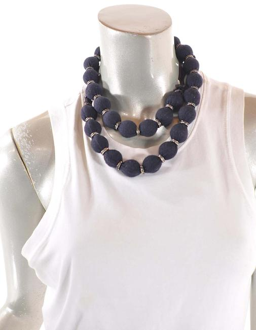 Item - Black Jersey Hiver 2005 Wrapped Faux Pearl Crystal Beaded Necklace