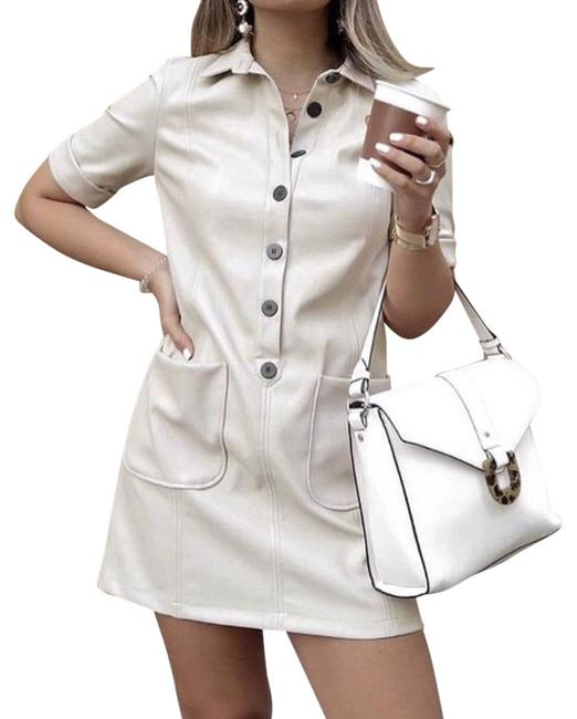 Item - Cream Faux Leather Short Work/Office Dress Size 4 (S)