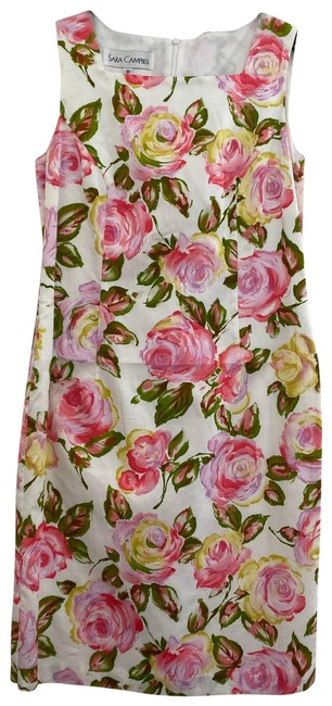 Item - White Floral Sleeveless Short Casual Dress Size 8 (M)